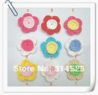 Hand cotton crochet flower 90pcs a lot 9 colors mixed shipping free