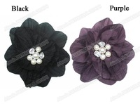 "12pcs/lot 6"" big flower hair clip flower brooch with pearls & strass AJB-0015 free shipping many colors assorted"