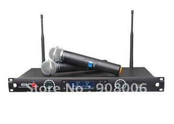 Top Qualit Lowest Price LCD Display UHF Dual Channel 8877 Dual handheld Wireless DJ & Karaoke Microphone Mic System Best Quality