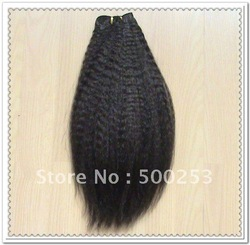 kinky straight #1b Indian remy human hair weft(China (Mainland))