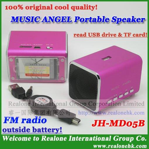 Pink Mini Speaker Free Shipping MUSIC ANGEL USB/TF card speaker JH-MD05B with FMradio+outside battery+original quality music box(China (Mainland))