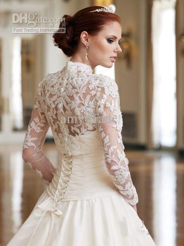Wedding Dresses Long Sleeves High Colar 51