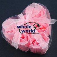 Pink 6pcs/set Handmade Wedding Favor Rose Bud Petals Soaps,gift sets for Valentine wedding,100sets/lot,free shipping