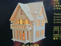 3D wood puzzle wooden house model miniature doll house toy Europe Light House MW102 free shipping