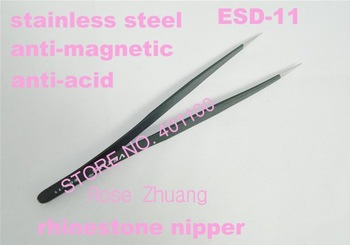 Freeshipping-Anti-Magnetic Fine Tweezer for Eyelash Extensiozers Stainless Steel Nail Rhinestone Nippers Wholesales SKU:F0078X