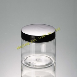 free shipping 20pcs/lot Capacity 200g black lid high quality cosmetic containers,PET cream jar(China (Mainland))