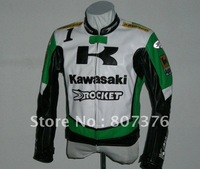 Retail/HOT: KAWASAKI Motorcycle Racing Leather(PU) Jacket With Removable Armor BlackM L XL XXL