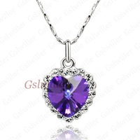 Italina Rigant Free Shipping Fashion Crystal Necklace, Austrian Purple Crystal,Necklace jewellery Birthday Gift