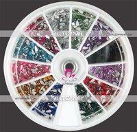 A_Grade 2*4mm Faceted Teardrop Nail art rhinestones Free Shipping 55 Wheels 12color 66000pcs Nail Rhinestones