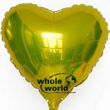 18 inch Yellow Heart shape HELIUM Foil Balloons For Wedding Party Birthday party ,100pcs/lot,free shipping