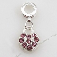 12 Present Hot Christmas Gift Idea purple Rhinestone Heart CHARMS Pendants Beads Fit NECKLACE 150819