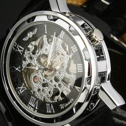 New Automatic Mechanical Skeleton watches Black Leather Wrist Silver Auto Men's Watch(NBW0HE6359-BL3)(China (Mainland))