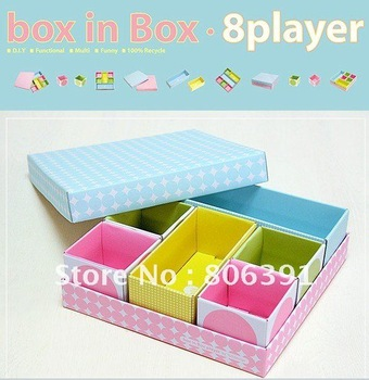 Box in box 8 Player multi-functional DIY paper Storage Box for House Keepping,desk clean up storage box/ table organizer