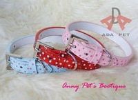 Hot sale! Wholesale 10PCS/lot red/blue/pink size M(1.5*37cm) PU leather dotted pet collar,dog teddy collar,cat kitty collar