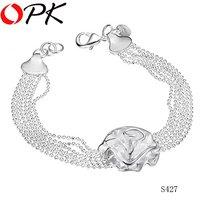 OKP JEWELRY 925 sterling silver bracelet silver flower jewelry bracelet Hot fashion Sell seacon Good gift Choose for friend  427