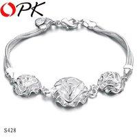 OKP JEWELRY 925 sterling silver bracelet silver flower jewelry bracelet Hot fashion Sell season angel accessory  428