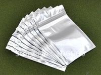 Silver Metallic Plastic Ziplock Bag 8.5x13.5cm ZLB-798-Free Shipping