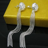 New Fashion Jewelry Women's Rose 925 Sterling Silver  Drop Earring