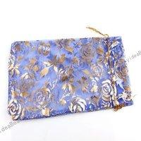 60pcs Cute Design  Wedding Gift Organza Pouches Bags Royalblue  Rose presant Candy Bags  120002