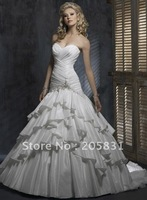 Free Shipping ! Exquisite Fold Court Train Taffeta Beading Sweetheart Wedding dresses