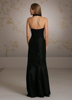 AV9066 Free Shipping,high quality,Black duet satin fit n flare bridesmaids gown