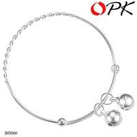 OKP JEWELRY 925 sterling silver bracelet kid's bracelet chain bell inlay child kids jewelry nickle free good for kids 060