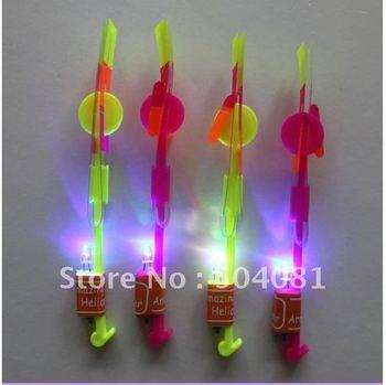 LED amazing arrow helicopter Assemble toys sets/model kits,light up flying arrow,led ufo ,flying arrow LED Mushroom parachute