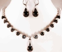 8mm Black Jade and White Pearl Necklace Earring Set Free Shipping