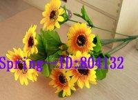 New Arrival ! Silk Artificial Simulation Sunflower Bush Fake Daisy Bouquet 9 heads 45cm Wedding & Home Decorate, freeshipping