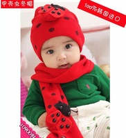 New Retail  ladybug hat scarf sets ladybird cap Baby hat +scarf set Bee cap