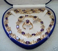 ..Beautiful Amethyst Earring Bracelet Necklace Ring  Free Shipping