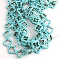40pcs Flower Shape Blue Natural Turquoise Stone Loose Beads Fit Bracelets 110659
