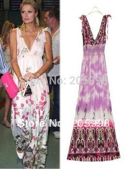 free shipping  wholesale 2011 fashion halter floral print dress V neck  Sheer Maxi floral dresses