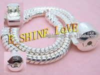 Wholesale Christmas Lots 5PcsXSilver Plate*925&Stamped*Bracelets Fit European Beads br2