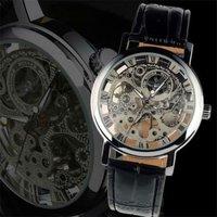 Retro Roman Silver Tone Skeleton Men Women Hand Wind Mechanical Wrist Watch A385