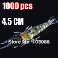 1000PCS/LOT New Shrimp shape ,fishing baits,fishing lure, fishing tackle, soft lure 4.5CM 1.2g Free EMS Shipping