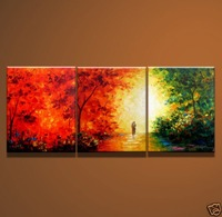 MODERN FLOWER CANVAS OIL PAINTING HANDPAINTE ART DECO ed1512 OIL PAINTING 3 panels abstract trees art deco