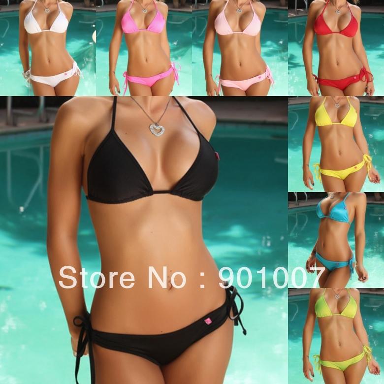 Freeshipping New arrival dot sexy Bikini Swimwear women pink bordered ...