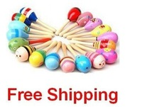 50pcs Hot Sale Wooden Toy Rattle Cute Mini Baby Sand Hammer Wholesale+ free shipping