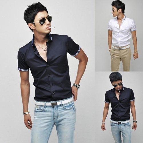 burberry sale outlet online a1ey  Men's Short Sleeve Shirts Fashion NEW Summer Men Shirt Casual Men's Shirt #