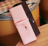Free Shipping pink sweet pencil case leather pencilcase only pink