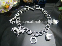 Wholsale, 925 Sterling Silver fashion jewelry HORSE FIVE CHARMS nice bracelet bangle free shipping,Penoyjewelry B18