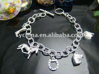 Wholsale, 925 Sterling Silver fashion jewelry HORSE FIVE CHARMS nice bracelet bangle free shipping,Penoyjewelry B18