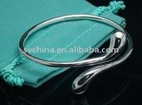 Wholsale, 925 Sterling Silver fashion jewelry teardrop nice bracelet bangle free shipping,Penoyjewelry B23