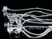 Silver Plated Bracelets Beaded Bracelet Fit Charms Bracelets Murano Jewelry Bracelet Mix Size 17-22Cm Free Shipping 100pcs