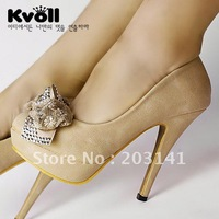 D5401 Hot selling KOLL 12cm Apricot PU+Flowers girl's high heels,fashion high heel shoes