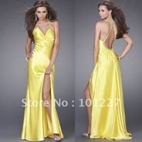 LD517 Backless Elastic Satin Beaded Prom Dress