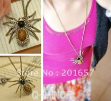 DN-212 fashion freeshipping & charming vintage spider design necklace 12pc/lot(China (Mainland))