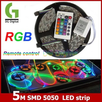5M/lot high quality flexible waterproof SMD 5050 colorful LED Strip Light Strip with remote control DC 12V