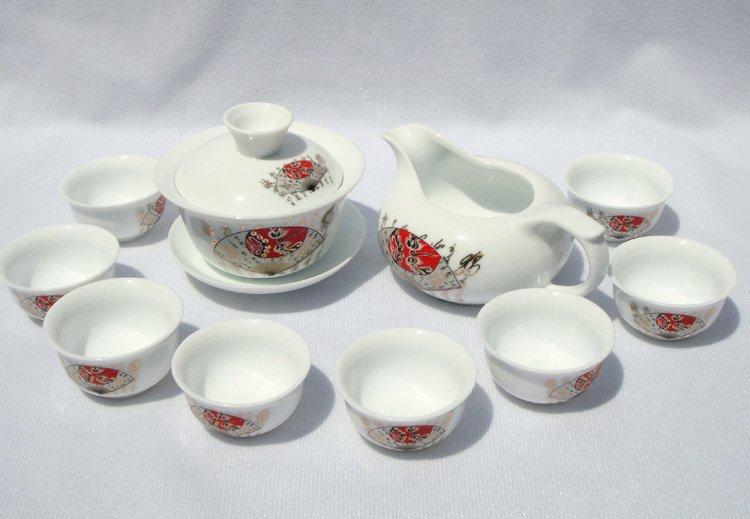 10pcs smart China Tea Set Pottery Teaset Chinese Calligraphy TM06 Free Shipping